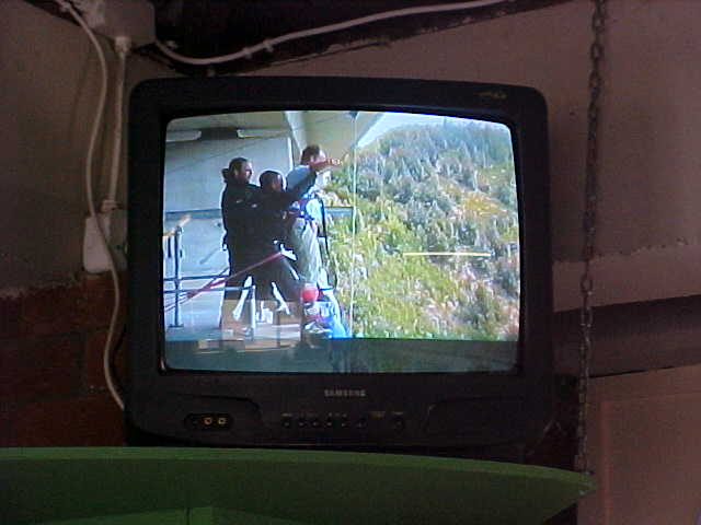 Back at the bungy registration office I watched the video of the jump. Here an upclose look of me, ready for the launch!