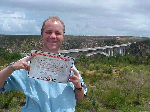 -This is to certify that Ramon Stoppelenburg has bungy jumped from the awesome Bloukrants River Bridge; Face adrenalin the worlds highest by far: 216 meters - Aaaah!!! - as signed by the jump co-ordinator.