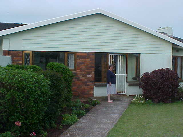 Heather in front of the house in Port Elizabeth.