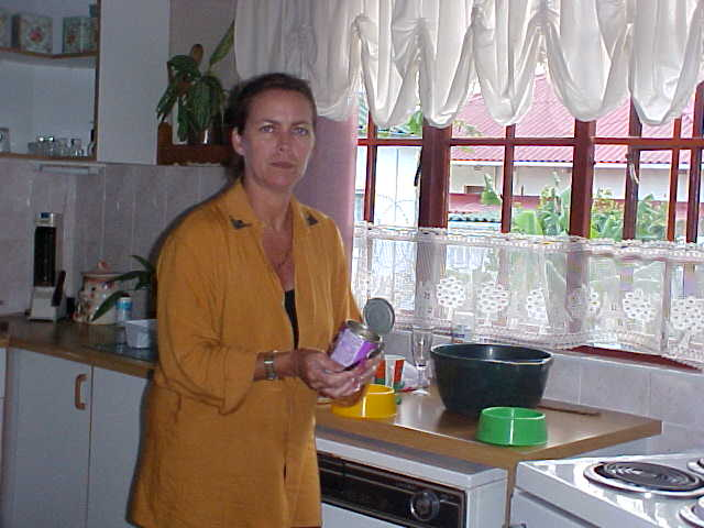 Linda Jackson, busy in her kitchen of the Niki-Nana backpackers in East London
