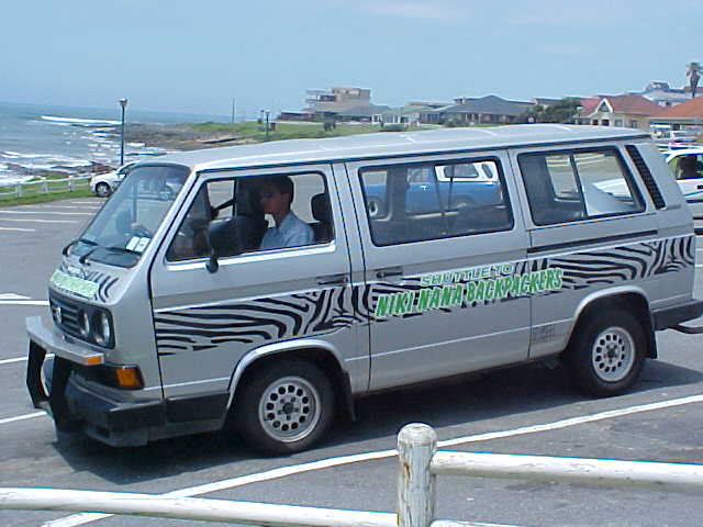This is the shuttle that picks up the guests staying at Niki-Nana, anywhere in town.