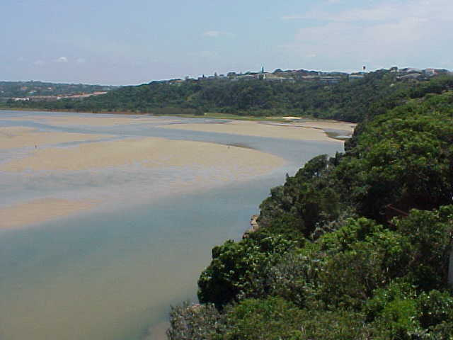 The Nahoon river mouth. The newspaper reported that it would need a enormous flooding to wash out the sandbanks that will make this river a lagoon...