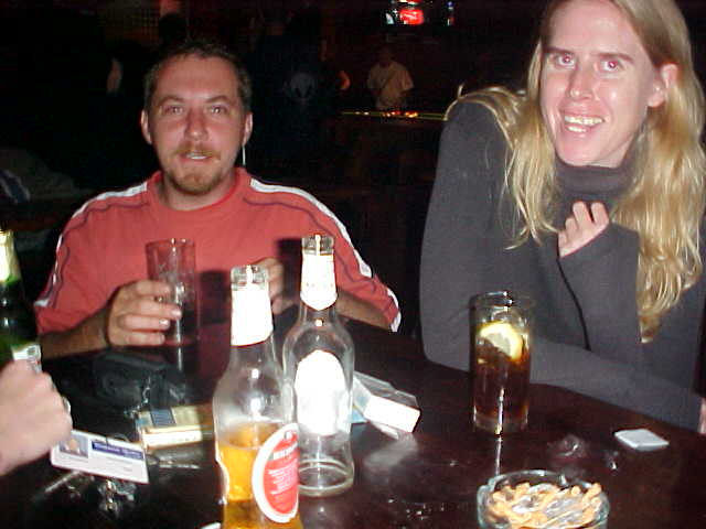 Chris and Heidi (in the beginning) of a night out at the Buccaneers pub in East London.