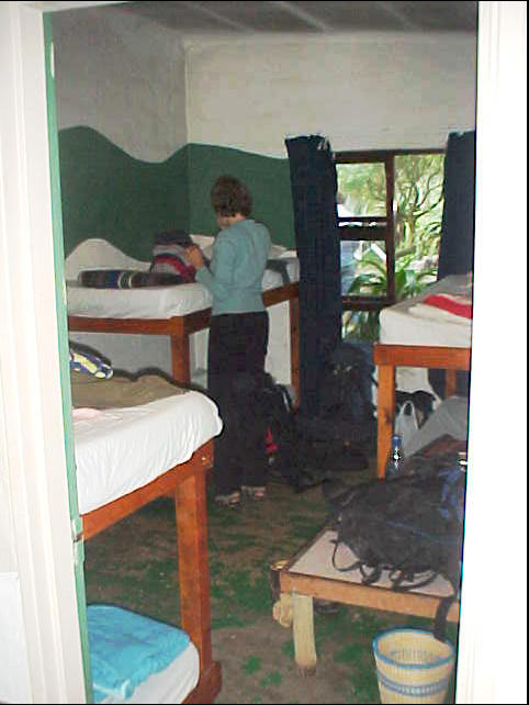 Carola in the dorm. I am sleeping on the bed below in the corner.