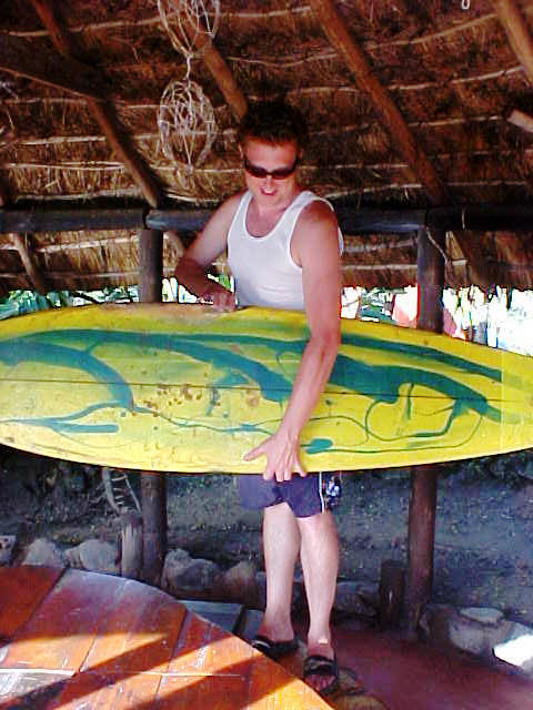 Erin Collins again, ready to hit the waves, just minutes after he arrived.