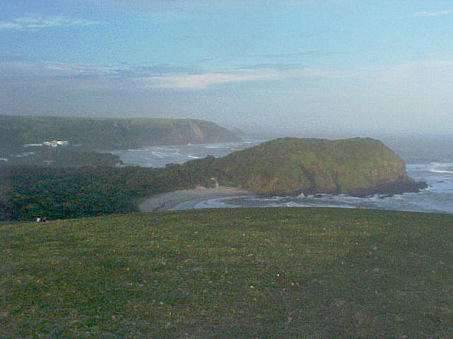 The ... VIEW from top of the hill, overlooking the first Coffee Bay beach, just minutes for sundown...
