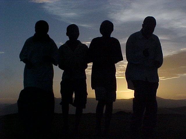 The choir of four boys that sang for us while the sky turned various beautiful colours on the background.