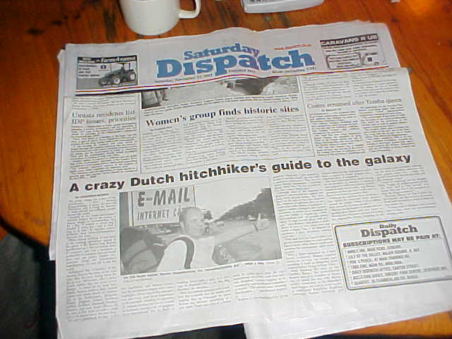 And what had appeared in the Daily Dispatch today? Mmm, hope that nobody had noticed it...