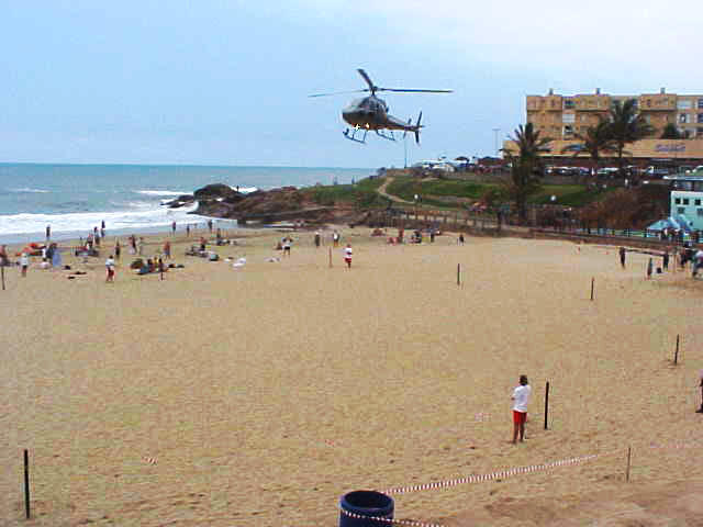 And especially for receiving the Blue Flag officially, the major came down on the beach in a helicopter.