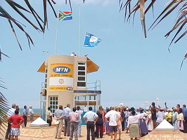 And when the flag was taken ashore, the ceremony ended with raising the flag next to the South African flag.