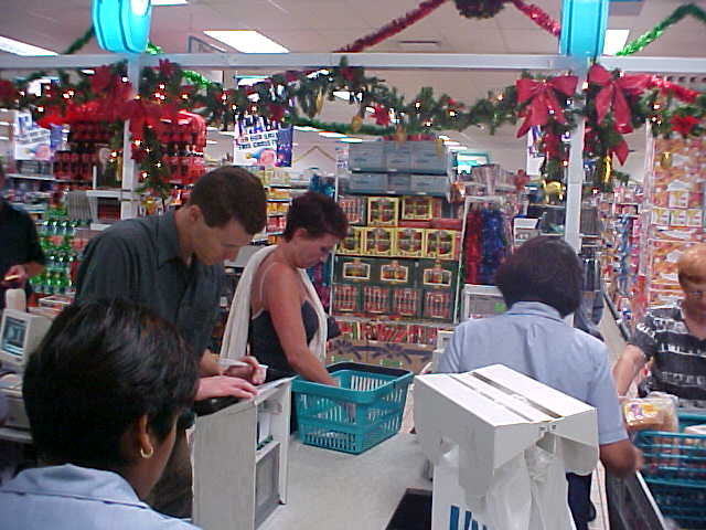 Even here in South Africa, shopping for Christmas has started. Here Brian at the supermarket.