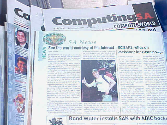 Shayne is a news journalist at the weekly newspaper Computing SA. Here the article he wrote about my project after attending the press confrence in Joburg on my second day in South Africa.