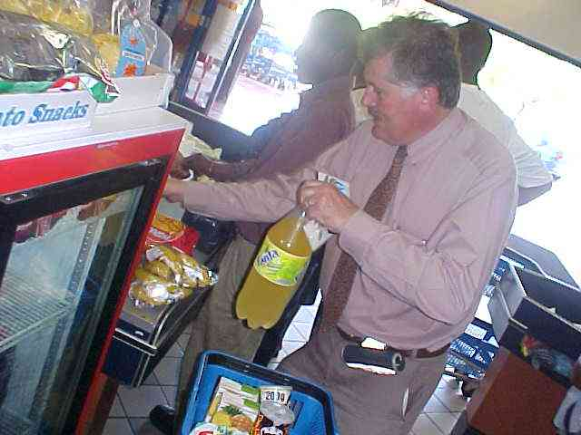 ...one hamburger menu at Steers, drinks and chips at the supermarket...