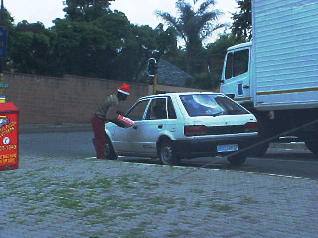 And also the street hawkers are in Christmas style in Johannesburg.