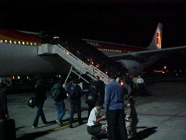 Boarding time on the Iberia Airbus towards Madrid.