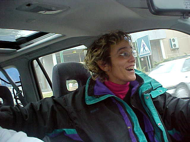 Belen Sagrario in her car as she drives me to her home in the north of Madrid.