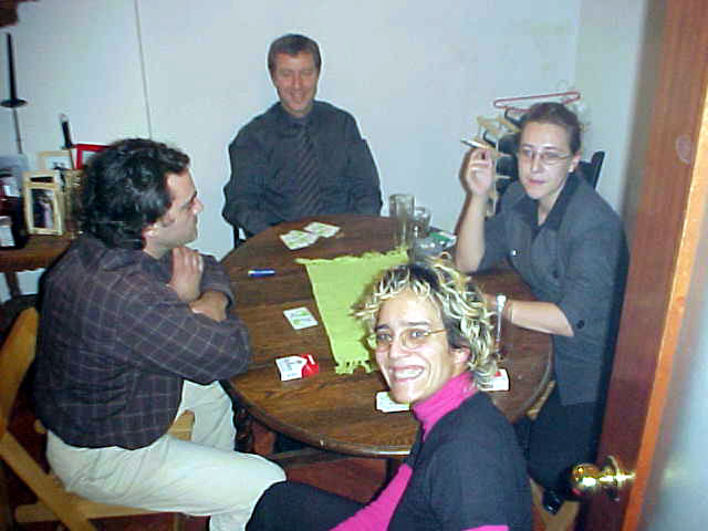 And I never got to understand this game of cards they were playing. It was about lying and betting and etcetera. Left to right: Juan Carlos, Michael, Belen and Bea.
