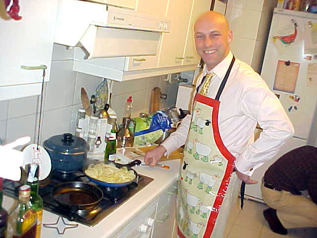 Briton Olav, while preparing dinner in the kitchen.