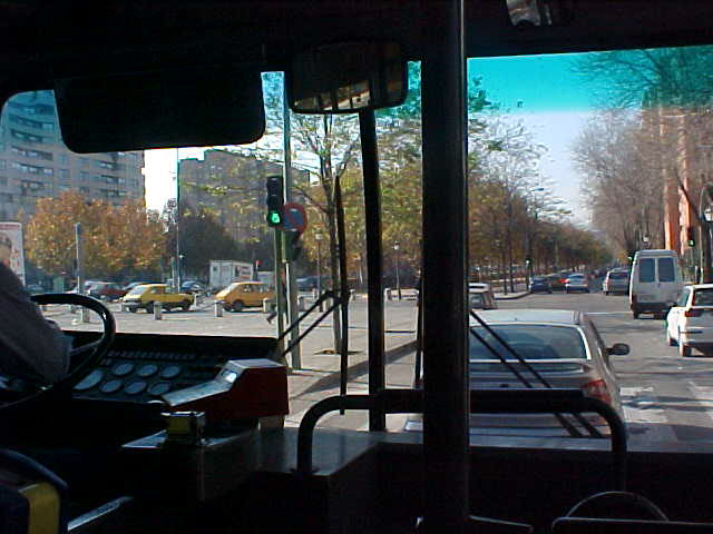 In the bus towards Madrid centre.