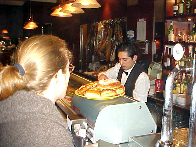 Ordering tortilla at Miau restaurant.