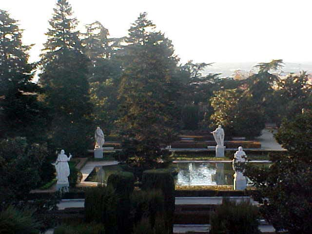 The romantic garden of the Palacio Real.