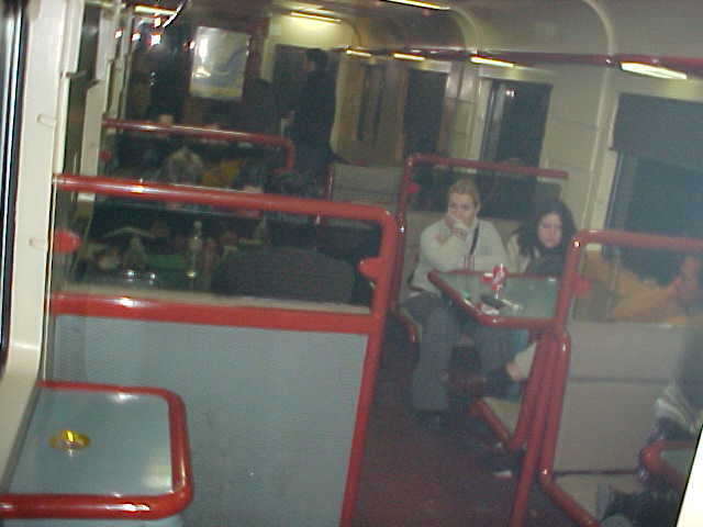During the two hour power failure in the train from Madrid to Barcelona, the dining train had some emergency light.