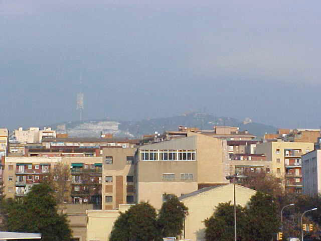 And in the north of Barcelona, snow is visable on the hills.