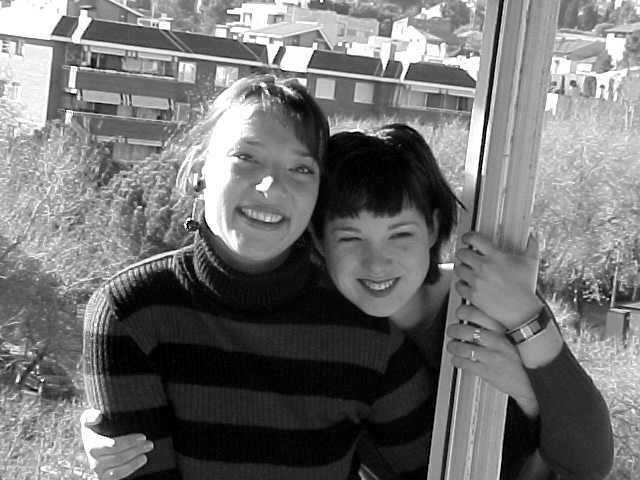 Art shot: Justine and Mirjam on the balcony.