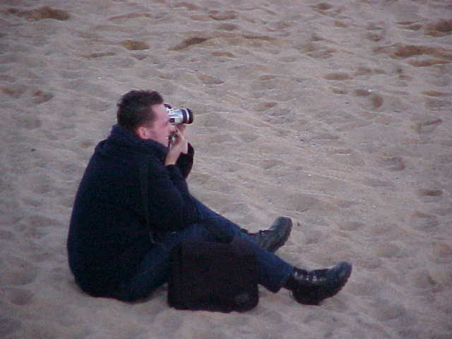 Tourist Munk in the sand.