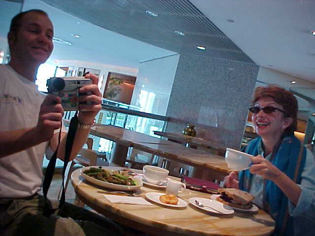 Fionnuala and me, having a Chinese veggie lunch.