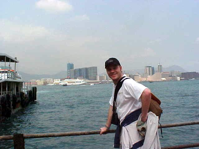 World traveller overlooking the harbour of Hong Kong.