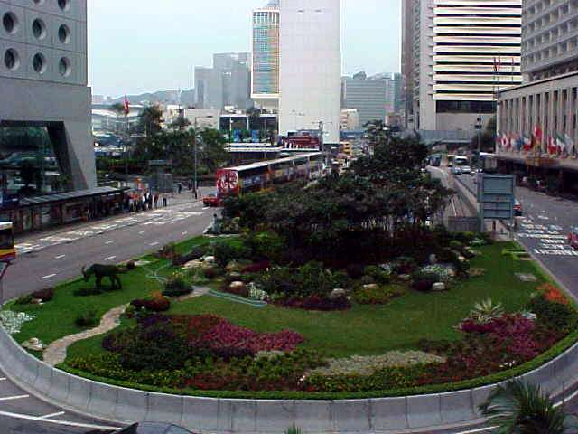 A view from one of the many walkways. City nature is created between the roads.