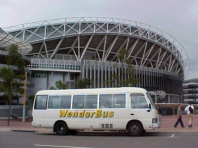 The Wonderbus at the Olympic Stadium in Sydney.