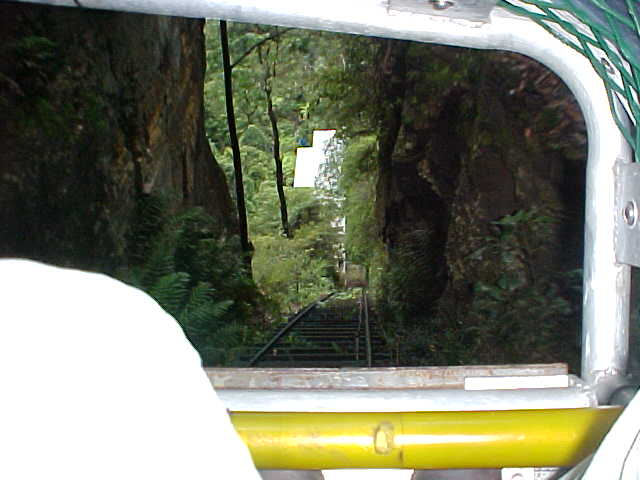 Looking down between my legs, in the steepest railway on the world! This was a bit scary for me!