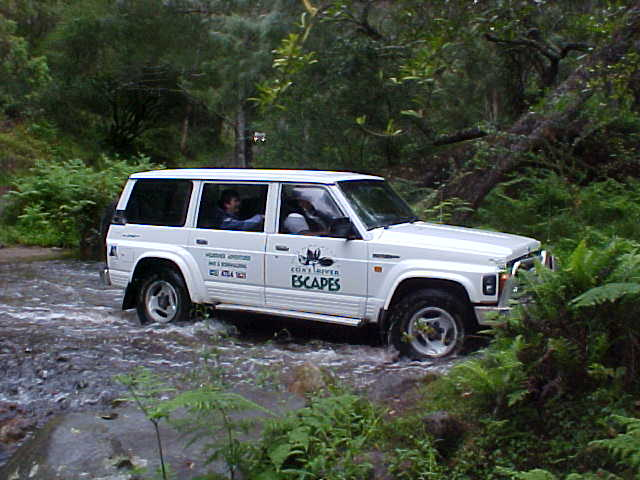 Crossing Coxs River in the 4WD Nissan.