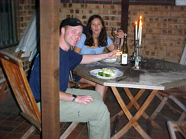 We had dinner outside on the balcony, of course with candles! Cheers!