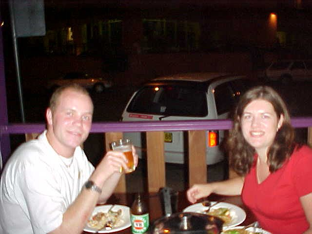 Jo treated me on dinner at a Thai restaurant. Delicious and HOT food. The waitress was shocked when she saw my DIGITAL camera... That explains the blurryness...