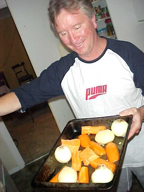 Friend Graham with oven baked veggies for dinner