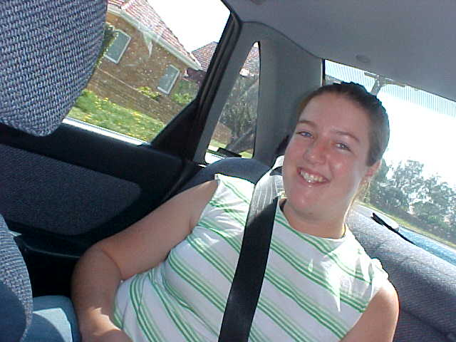 Hayley in the back of the car after picking me up.