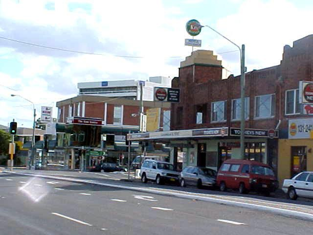 Coffs Harbour main street, with the Coffs Hotel at the corner.