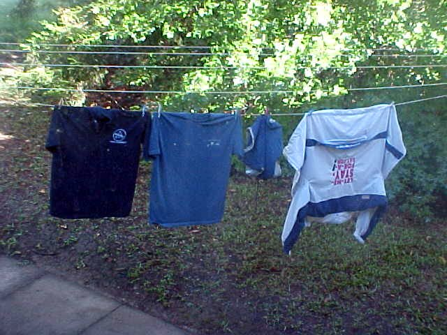 Marion had washed my dirty laundry. My clothes were drying outside.