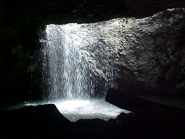 The creek from the inside of the cave.