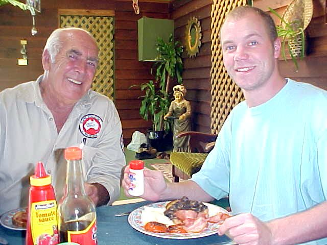 Having breakfast with Des, while he tells me some great stories.