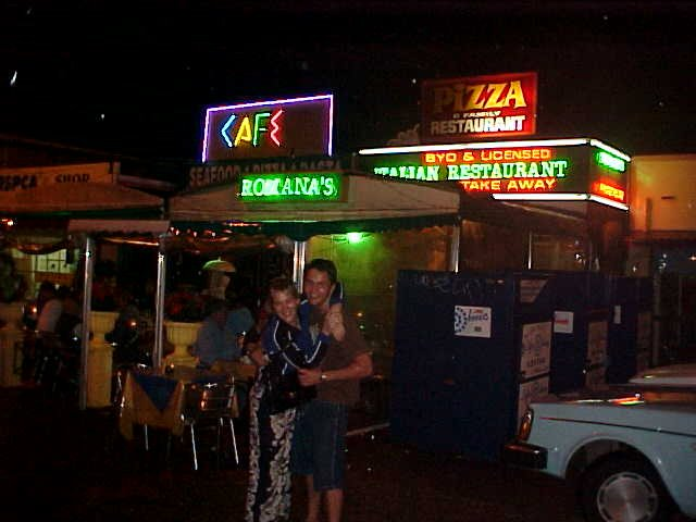 Liz and Allan in front of the Romanas Italian Restaurant in Mermaid Beach.