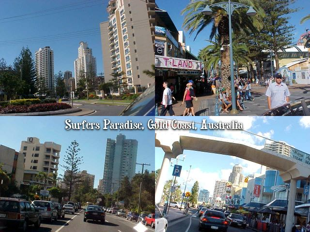 Sights of Surfers Paradise, high rise city with malls, malls and sky scraper. Soon this town will have the TALLEST RESIDENTIAL TOWER in the world, with only some 85 floors...