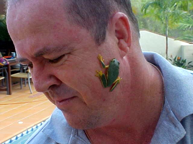 In the morning Stephen came along with a rare green frog from the garden. However it jumped out his hands and stuck in his face for a while. You do not see many frogs like these, because of the toads who poison the water.