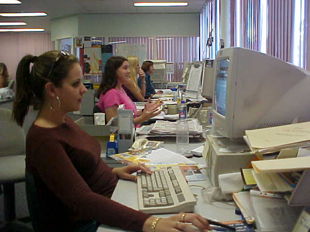 Nobody really wanted to work today as it was Easter Monday, but hey - newspaper have to be made! Kylie is the lady in the pink shirt!