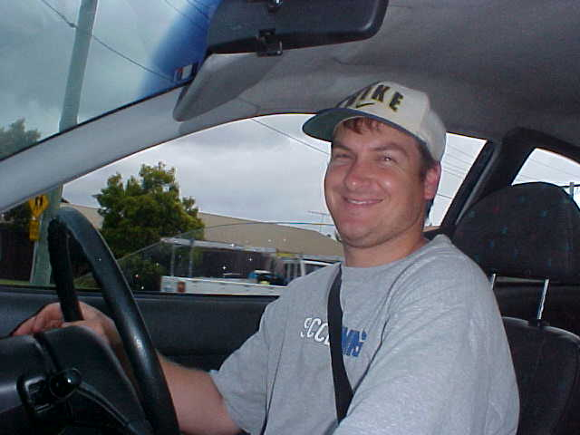 Kylies husband Wayne takes me home.
