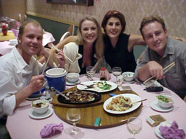 Harley, Liz, Shelly and me in the Chinese restaurant in The Valley, that is how they call this cultural section of town.