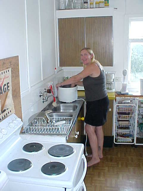 Hostess Sue Kelly in her kitchen, busy with parts of a big cleaning.